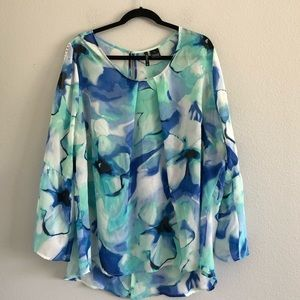 New Directions Women Sheer Printed Top Size 3X
